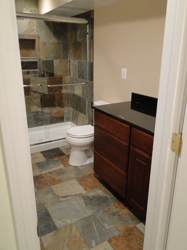 powder room to full bath with shower