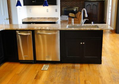 Kitchen Remodel - White Thermofoil to Black Lacquer with Stainless